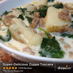 "Super-Delicious Zuppa Toscana | ""A well deserved 5 stars! My husband immediately saved the recipe to the kitchen desktop right after his first bite :-) We have some fond memories of the Olive Garden zuppa toscana, so with the addition of fennel seed this recipe was perfect! Thanks souporsweets!"""