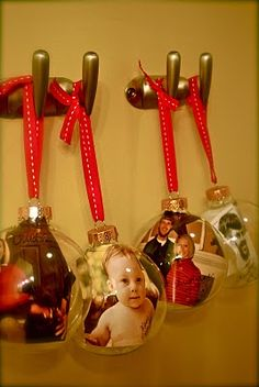 Making Christmas ornaments with family photos in them! Too cool!