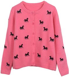 Hot Pink Horse Embroidery Cardigan