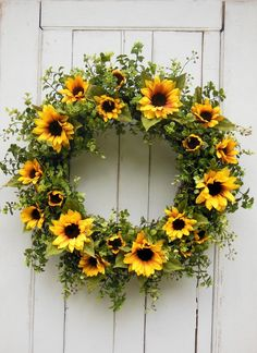 Your place to buy and sell all things handmade, Sunflower Wreath Spring Wreath Farmhouse Wreath Farmhouse Summer Door Wreaths, Fall Wreaths, Autumn Wreaths For Front Door, Fall Door, Mesh Wreaths, Floral Wreaths, Burlap Wreaths, Summer Deco, Spring Summer