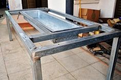 Barbecue Grill and Table Combo - Bbq Grill Grill Diy, Barbecue Grill, Bbq Table, Built In Bbq, Grill Design, Barbecue Design, Outdoor Kitchen Design, Kitchen Decor, Backyard Bbq