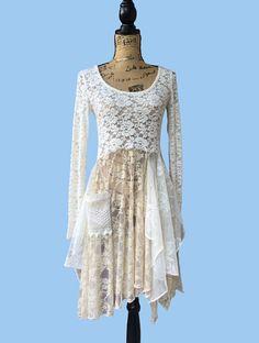 lace dress lagenlook shabby chic boho chic by Runway45BohoChic
