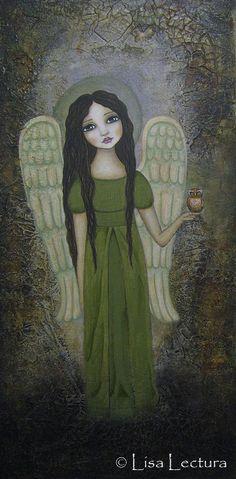 Lisa Lectura Creations   Follow for more GREEN illustration art: http://www.pinterest.com/OddSoulDesigns/color-me-green/ #angel #folk