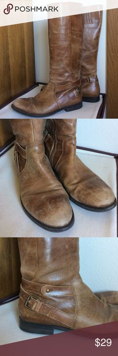Leather Knee High Riding Boots 🐎MAKE AN OFFER🐎 Real leather riding boots. Worn for a few years- you can see the basic wear, but a little oil would breathe new life into these! Stretchy panels at calf (first picture) allow for a snug and adjusted fit. Buckle detail adds style. Tiny heel. Matisse Shoes Over the Knee Boots