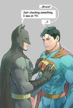 DC Batman Bruce Wayne Checking to See if Clarks Heart Signal is Operating Clark Kent aka Superman is Checking Bruce's Hardness. Superman X Batman, Cute Anime Guys, Anime Love, Hot Anime, Silent Horror, Superfamily Avengers, Couples Comics, Black Anime Characters, Fictional Characters