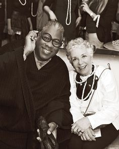 Fashion editor Andre Leon Talley smiles for the camera, wearing cake whiz Sylvia Weinstock's iconic glasses.