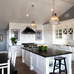 beach style kitchen by Tara Bussema - Neat Organization and Design  gray wall blue wall