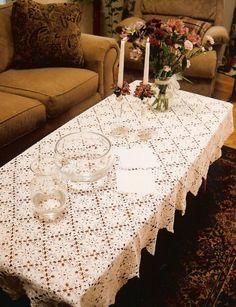 Love the coffee tables.  Much higher than in US.  Handmade (by Beste Rise) tablecloth.  Looks like Hardanger, but I am not sure.