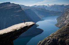 Doing yoga on Norway's Trolltunga