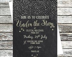 Personalised Under the Stars Party Invitation, Poster Printable, Celestial Invites, Prom, Event, Ball, Homecoming, School Dance, Tickets