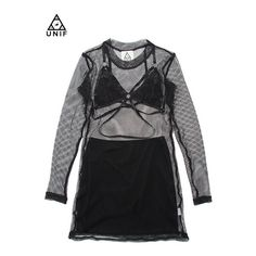 30%OFF 【UNIF CANDY】MESH DRESS/BLACK ❤ liked on Polyvore featuring dresses, unif dress, faux-leather dresses, unif and mesh dress