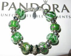 NEW WOMAN'S 7.5 AUTHENTIC PANDORA BRACELET 925 ALE GREEN MURANO GLASS BEADS #Pandora #European