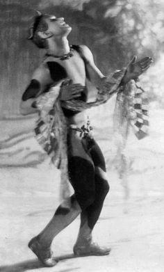 Photograph of Nijinsky as a faun in the premiere of ballet 'L'après-midi d'un faune' taken by Baron Adolph de Meyer, 29 May 1912.