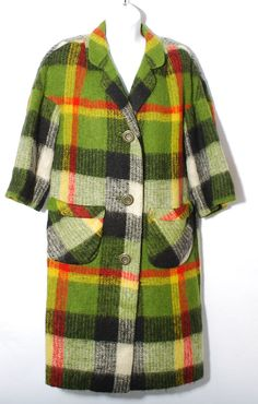 Vintage 60's Coat Green Plaid Wool Coat by by CommonCentsThrift