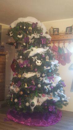 Our Nightmare Before Christmas themed tree Christmas Tree Themes, Holiday Tree, Christmas Tree Toppers, Xmas Tree, Halloween Yard Decorations, Halloween Trees, Halloween Christmas, Dark Christmas, Disney Christmas