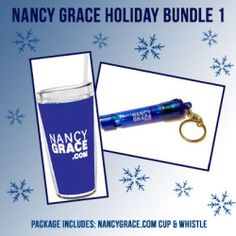 Nancy Grace Holiday Bundle #1 Includes my new travel tumbler and safety whistle key chain. This set makes a great gift for a Nancy Grace fan on the go!