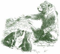 Medvedice rozhabrava mraveniste. Srsnata zver. Zde Burian nevykresluje jak bychom cekali veskerou srst medvedice, ale pouze  zastinene casti. Tam kde dopada svetlo js naznak svalu a obrysy figury.