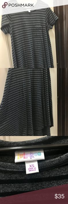 LuLaRoe Black and Gray Carly Black and gray striped Carly. EUC LuLaRoe Dresses High Low