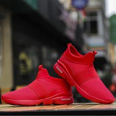 8387e430b19b9 Outdoor Men Running sports Shoe For adult Men Breathable mesh Lightweight  Comfortable male sneakers walking jogging Red Summer