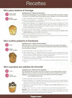Recipe Card Mini muffin pan - The Tupp Sisters & # - Tupperware: mi . Mini Desserts, Bite Size Desserts, Easy Desserts, Macaron Flavors, Macaron Recipe, Mini Muffins, Mini Dessert Shooters, Tupperware Recipes, Cake Tupperware