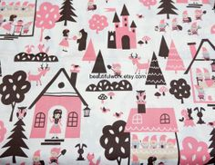 Snow white and Seven Dwarfs Print Japanese Fabric by beautifulwork, $8.50