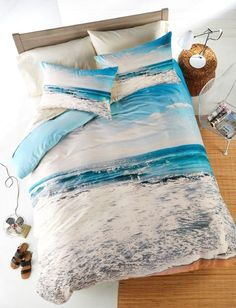 Beach Bedding Collections - Slip Away to the Soothing Shoreline - Beach Bliss Living Bedroom Themes, Bedroom Decor, Bedroom Ideas, Bedroom Bed, Master Bedroom, Ocean Bedroom, Ocean Bedding, Beach Comforter, Beach Bedding Sets