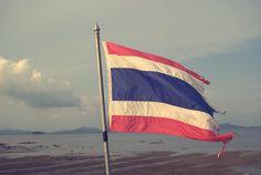 Thai flag blowing in the wind, Koh Lanta island, Thailand