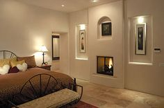 santa fe style fireplaces | Custom Builder Home Design - property in Las Campanas, Santa Fe