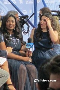 May 16, 2013 — American Idol top 2 Candice Glover and Kree Harrison give red carpet interview. American Idol finale. Nokia Theater. Los Angeles. photo credit: Ifelicious