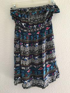 Forever 21 SZ S Dress Strapless Multi-color Aztec Tribal Print Sundress  #FOREVER21 #Sundress #Casual