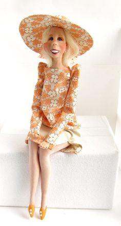 Ooak Doll Mixed Media Clay and Cloth  Jolene  by DOLLSBYFRANCINE