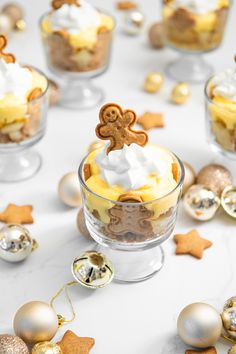 Winter Desserts, Thanksgiving Desserts, Christmas Desserts, Gingerbread Trifle, Gingerbread Man Cookie Cutter, Mini Trifle, Delicious Desserts, Dessert Recipes, Tray Bakes