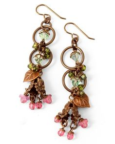 Precious Petals earrings by Rose Noble featuring Vintaj natural brass, artisan copper + Swarovski crystals from Fusionbeads.com