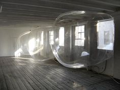 """Comfort"" is an architectural intervention by LB Studio (Sabina Lang and Daniel Baumann) that transforms places giving a new dimension to the spaces. It is amazing how they represent something as ethereal and evocative as a soap bubbles using polyurethane, ventilators and the compression of the windows."