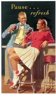 Original Art 1947. I made pompoms for my white roller skates -- Yaya