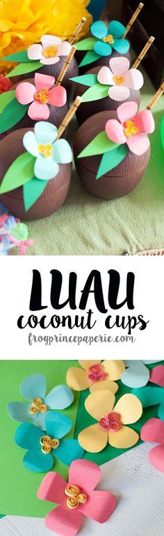 Luau Coconut Drink Cups - DIY Paper Luau Flowers - Frog Prince Paperie