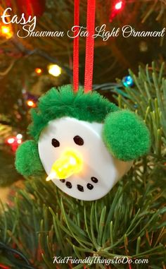 Easy Snowman Tea Light Ornament Craft - Perfect simple craft for kids and classroom or holiday parties! Easy Snowman Tea Light Ornament Craft - Perfect simple craft for kids and classroom or holiday parties! Easy Christmas Ornaments, Christmas Crafts For Kids To Make, Christmas Ornament Crafts, Xmas Crafts, Christmas Diy, Party Crafts, Christmas Decorations, Wood Crafts, Kids Ornament