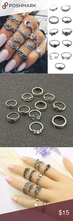 11pc ring gift set 11PC/Set Women Punk Vintage Flowers Moon Knuckle Rings Tribal Ethnic Hippie Stone Joint Ring Jewelry Set Xmas Gift  Available the end of June Jewelry Rings