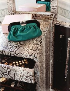 Snakeskin Jewelry Armoire   YES!!!!!  via Rue Issue 2