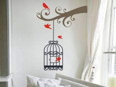 I'm thinking white cage with pink or purple birdies...