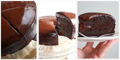 Een heerlijk recept voor chocolade taart met een dikke laag chocoladeglazuur.