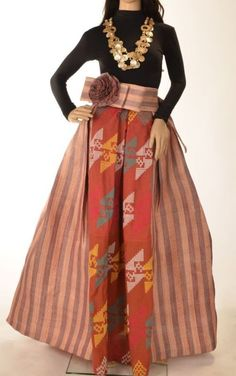 Tinalak skirt and belt with Sinaluan accent (red and violet) - Tesoro's Philippine Handicrafts