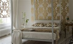 """Designers Guild Fabric, """"Bergamasque Florimund"""" White and Gold Damask Curtain Fabric, Upholstery Fab Designers Guild Wallpaper, Designer Wallpaper, Gold Damask Wallpaper, Curtains To Go, Printing On Fabric, Print Design, Bedroom, Furniture, Canopy Beds"""