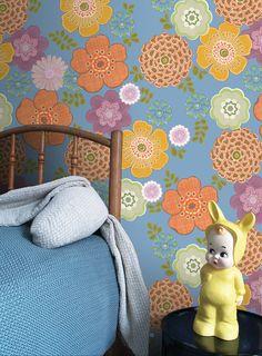 Wall Print collection by INKE IK2052 (vintage bloem blauw)