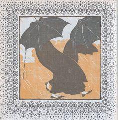 April: Weather Cockiness. Woodcut by Koloman Moser, Ver Sacrum, 1903. Via.
