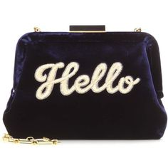 Edie Parker Lauren Hello Velvet Clutch Bag ($1,595) ❤ liked on Polyvore featuring bags, handbags, clutches, blue, edie parker clutches, velvet handbag, velvet purse, edie parker handbags and blue handbags