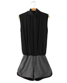 Short Sleeveless Black Cotton-blend Jumpsuit