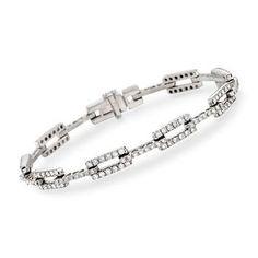 """Ross-Simons - C. 1990 Vintage 3.00 ct. t.w. Diamond Link Bracelet in 14kt White Gold. 7"""" - #862777"""