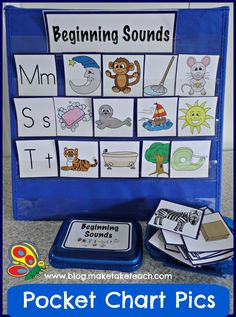 Pocket chart pictures for learning beginning sounds. Pics for rhyme and syllables too!