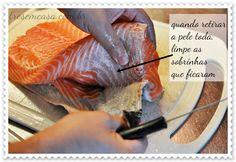 como tirar a pele do salmão